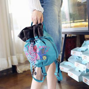 Drawstring Color Block Embroidery Backpack - BLUE