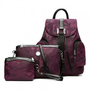 Drawstring Camo Pattern Backpack Set - Purple