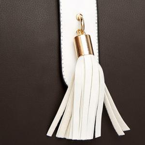Color Block PU Leather Tassel Totes -
