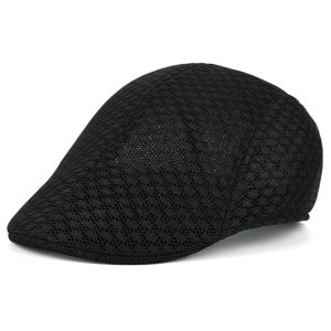 Summer Hollow Out Mesh Newsboy Hat - Black