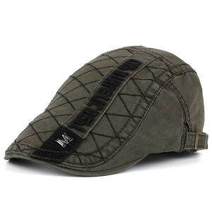 Rhombic Plaid Letters Embroidered Flat Hat - Army Green