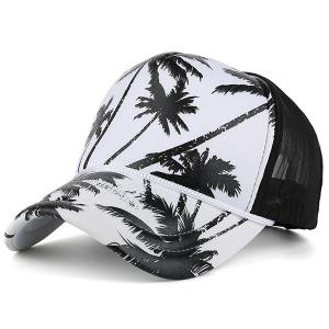 Mesh Spliced Coconut Palm Printing Baseball Hat - Black - M