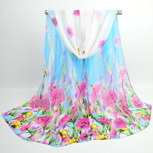 Flowers Blooming Printed Fancy Chiffon Shawl Scarf - Azure - S