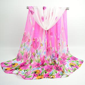 Flowers Blooming Printed Fancy Chiffon Shawl Scarf - Sangria
