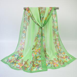 Vintage Edge Printing Multicolor Flower Blossom Shawl Scarf - Turquoise