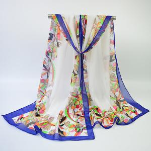 Vintage Edge Printing Multicolor Flower Blossom Shawl Scarf - Off-white - L