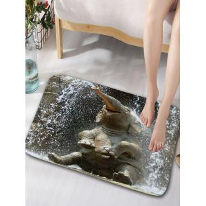 Elephant Playing Water Print Flannel Skidproof Bath Mat