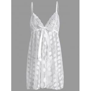 Sheer Plus Size Polka Dot Badydoll Slip Dress - White - 2xl