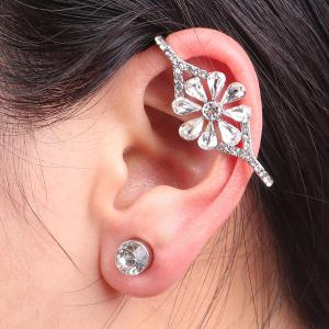 Rhinestone Flower Ear Cuff with Stud Earring