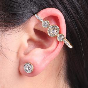 Rhinestone Round Ear Cuff with Stud Earring