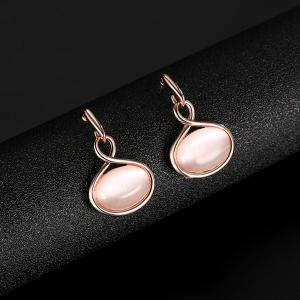 Artificial Opal Oval Pendant Jewelry Set - ROSE GOLD