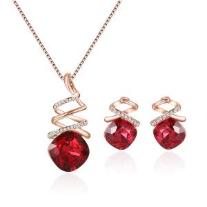 Artificial Ruby Rhinestone Pendant Jewelry Set