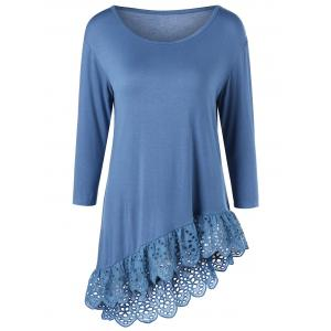 Broderie Openwork Scalloped Edge Asymmetrical T-Shirt - Blue - L