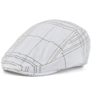Nostalgic Plaid Striped Trucker Hat - White