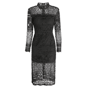 Long Sleeve Sheer Fishnet Lace Party Dress - BLACK S