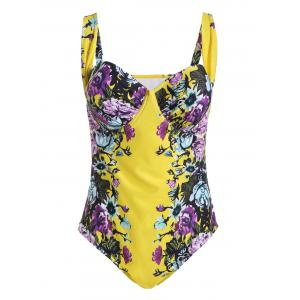 Plus Size Push Up Floral One Piece Swimsuit