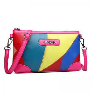 Stitching Faux Leather Crossbody Bag - Colormix - 40
