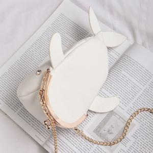 Whale Shaped Funny Crossbody Bag - WHITE