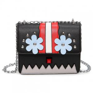 Flower Color Block Crossbody Bag - Black - M