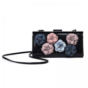 Flowers Metal Bar Sequined Evening Bag - Black