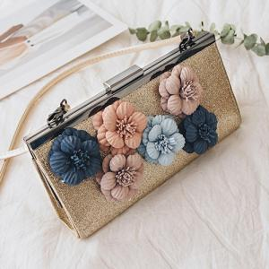 Flowers Metal Bar Sequined Evening Bag - Golden - 8