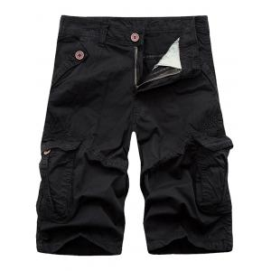 Zip Fly Cargo Shorts with Flap Pockets - Black - 32