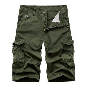 Zip Fly Cargo Shorts with Flap Pockets - Army Green - 32