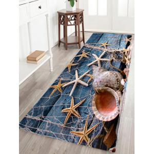 Coral Velvet Starfish Conch Floor Area Rug - Blue Gray - W16 Inch * L47 Inch