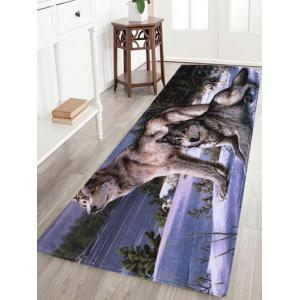 Coral Velvet Wolf Animal Large Area Rug