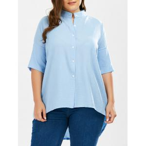 Long High Low Button Up Plus Size Shirt - Light Blue - One Size