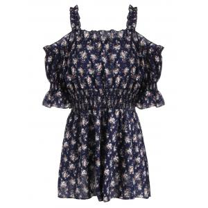 Plus Size Floral Off The Shoulder Mini Dress - Purplish Blue - 5xl