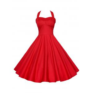Backless Halter Party Vintage A Line Dress