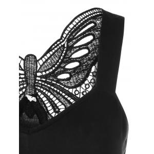 Cutwork Lace Trim Butterfly Pattern Tank Top - BLACK M