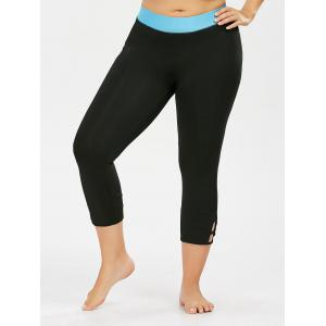 Two Tone Cropped Plus Size Workout Leggings - BLACK XL