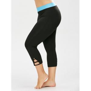 Two Tone Cropped Plus Size Workout Leggings
