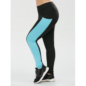 Plus Size Two Tone Sporty Leggings with Pocket - Black - 2xl