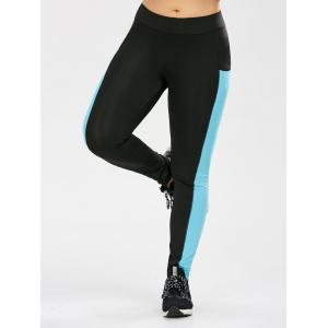 Plus Size Two Tone Sporty Leggings with Pocket - BLACK 3XL
