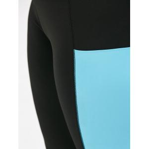 Plus Size Two Tone Sporty Leggings with Pocket - BLACK 4XL
