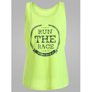 Run The Race Graphic Racerback Tank Top - Fluorescent Yellow - Xl