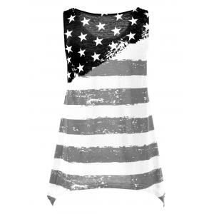 American Flag Asymmetrical Tank Top - WHITE/BLACK M