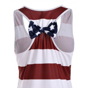 Sleeveless Racerback Bowknot American Flag Patriotic T Shirt Dress - DEEP RED L
