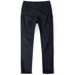 Cuffed Zipper Pockets Design Cargo Pants - DEEP BLUE 40