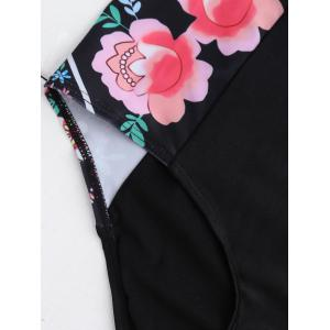 Halterneck Floral High Waisted Bikini Set - BLACK M