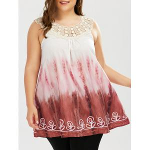 Plus Size Tie Dye Crochet Trim Top