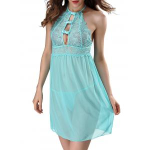 Halter Lace Sheer Babydoll - Light Blue - 2xl