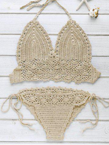 Halter Strappy Handwork Crochet Bathing Suit - Khaki - One Size(fit Size Xs To M)