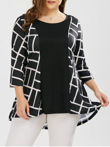 Discount Plus Size Geometric Smock Blouse WHITE AND BLACK 5XL