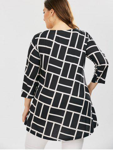 2018 Plus Size Geometric Smock Blouse In White And Black