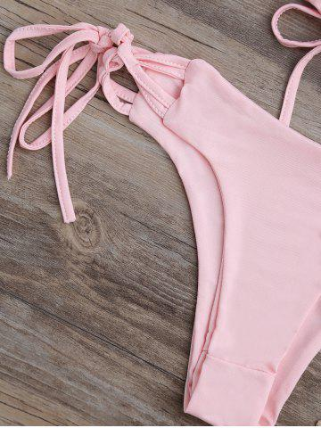 Shops Spaghetti Strap Criss-Cross Lace-Up Bikini Set - M PINK Mobile