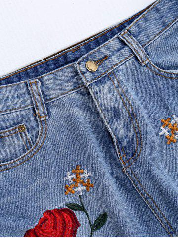 Cheap Rose Embroidered A Line Ripped Jean Skirt - L DENIM BLUE Mobile